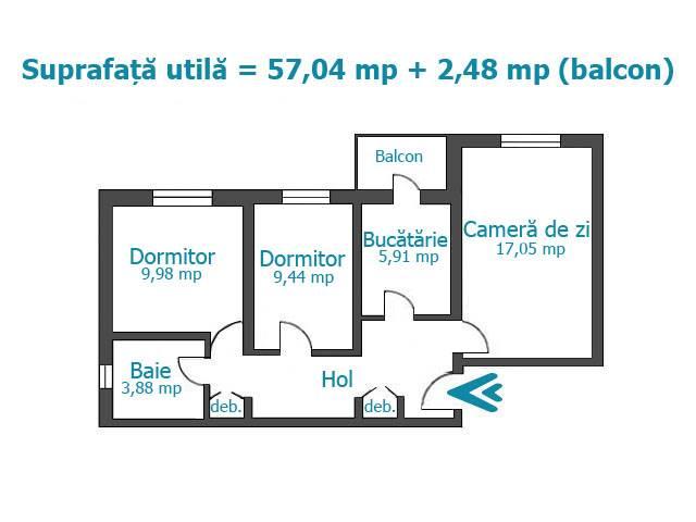 Royal Imobiliare   apartament 3 camere de vanzare in Ploiesti, zona Enachita Vacarescu