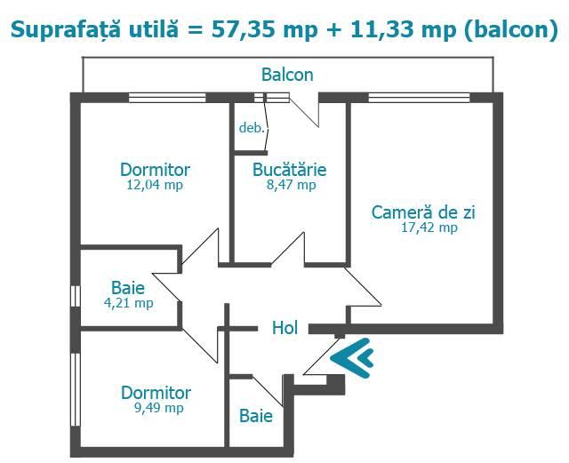Royal Imobiliare - apartament 3 camere de vanzare in Ploiesti, zona Sud